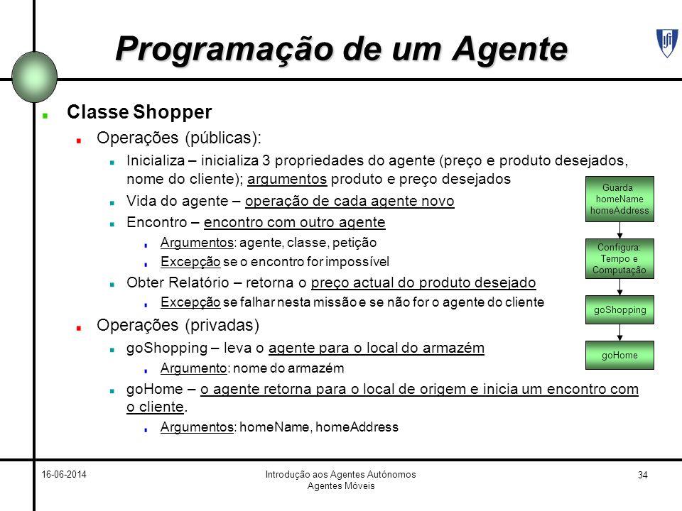 34 16-06-2014Introdução aos Agentes Autónomos Agentes Móveis Programação de um Agente Classe Shopper Operações (públicas): Inicializa – inicializa 3 p