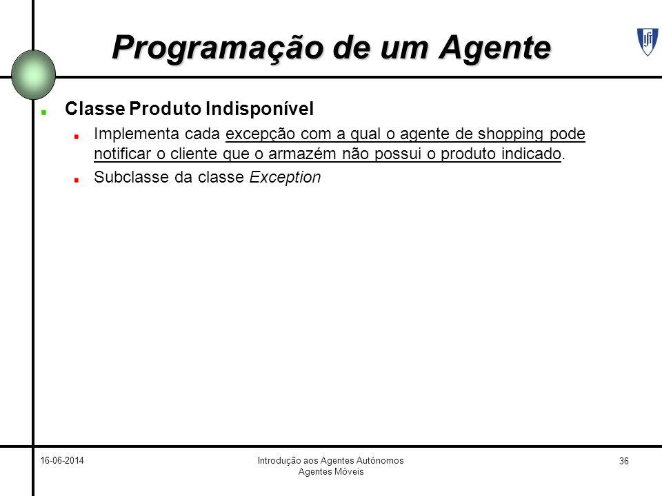 36 16-06-2014Introdução aos Agentes Autónomos Agentes Móveis Programação de um Agente Classe Produto Indisponível Implementa cada excepção com a qual