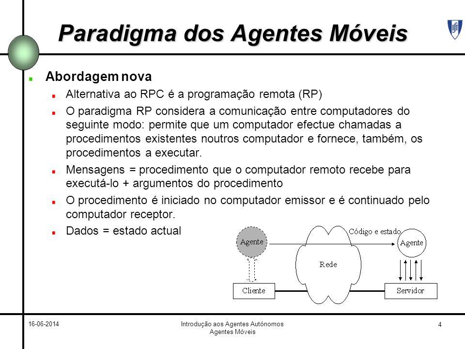 4 16-06-2014Introdução aos Agentes Autónomos Agentes Móveis Paradigma dos Agentes Móveis Abordagem nova Alternativa ao RPC é a programação remota (RP)