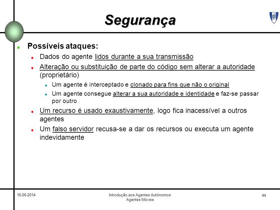 44 16-06-2014Introdução aos Agentes Autónomos Agentes Móveis Segurança Possíveis ataques: Dados do agente lidos durante a sua transmissão Alteração ou