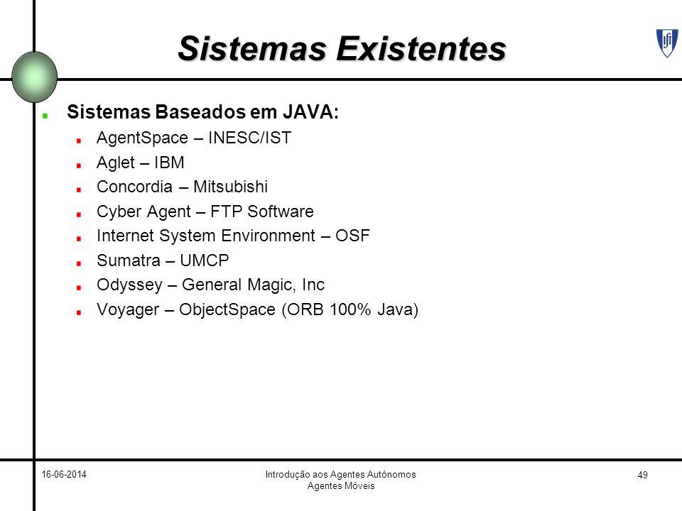 49 16-06-2014Introdução aos Agentes Autónomos Agentes Móveis Sistemas Existentes Sistemas Baseados em JAVA: AgentSpace – INESC/IST Aglet – IBM Concord