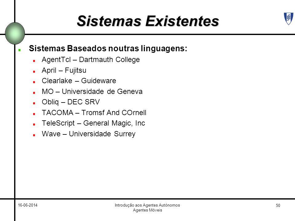 50 16-06-2014Introdução aos Agentes Autónomos Agentes Móveis Sistemas Existentes Sistemas Baseados noutras linguagens: AgentTcl – Dartmauth College Ap