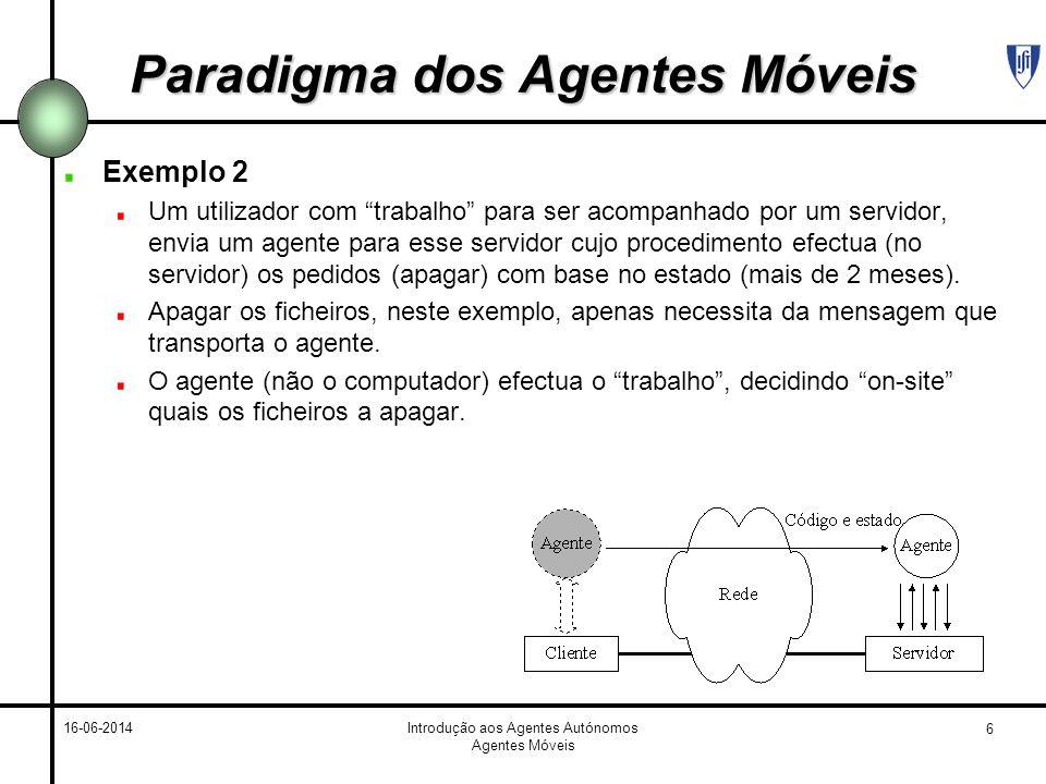 6 16-06-2014Introdução aos Agentes Autónomos Agentes Móveis Paradigma dos Agentes Móveis Exemplo 2 Um utilizador com trabalho para ser acompanhado por