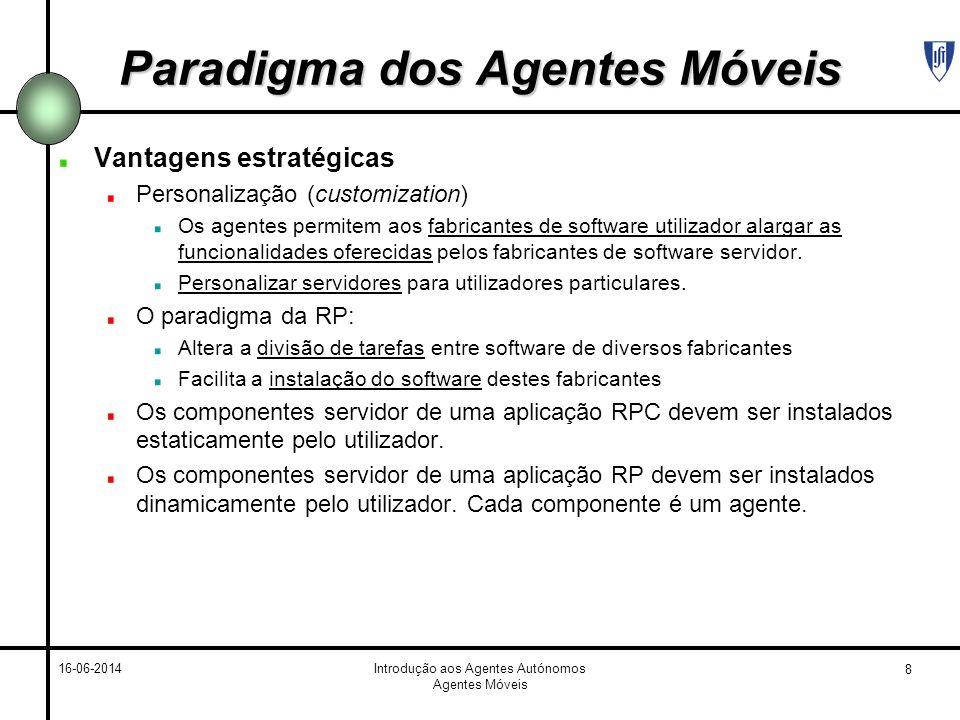 8 16-06-2014Introdução aos Agentes Autónomos Agentes Móveis Paradigma dos Agentes Móveis Vantagens estratégicas Personalização (customization) Os agen