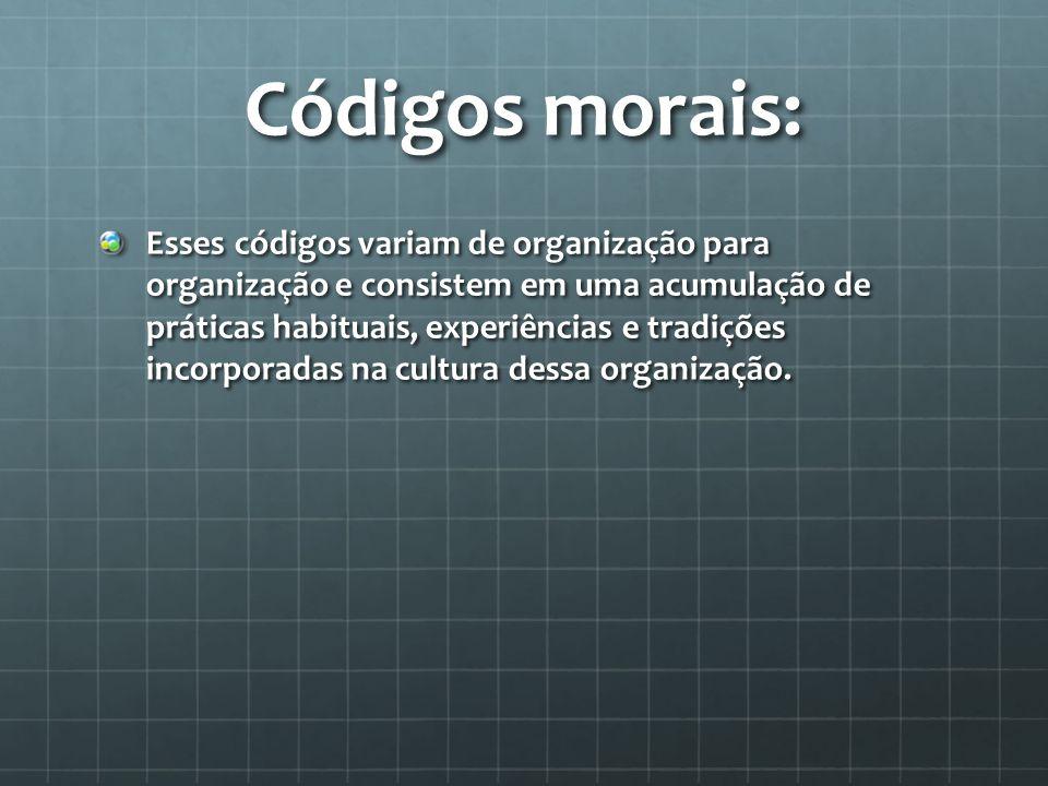 Códigos morais: Esses códigos variam de organização para organização e consistem em uma acumulação de práticas habituais, experiências e tradições incorporadas na cultura dessa organização.