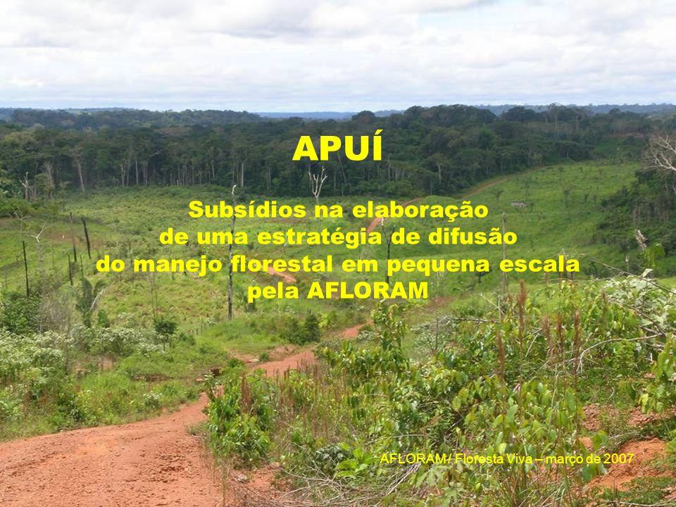 Objetivo : Proporcionar subsídios ao DPM / AFLORAM para definir uma estratégia de difusão do MFSPE em Apuí, com base nos conhecimentos e metodologias desenvolvidas pelo Floresta Viva