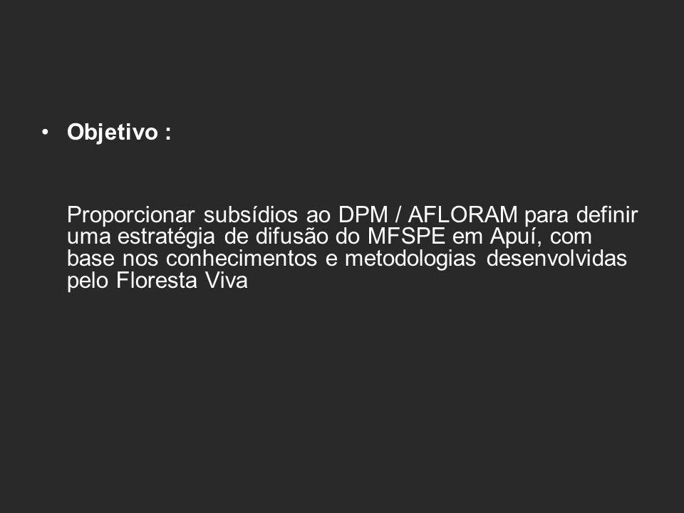 2 PA : Juma, Acari 2 PDS : I, II 2 PAE : Aripuana Guariba, São Benedito 1 PA Intensivo 5 projetos de assentamento com possibilidade legal de fazer manejo florestal
