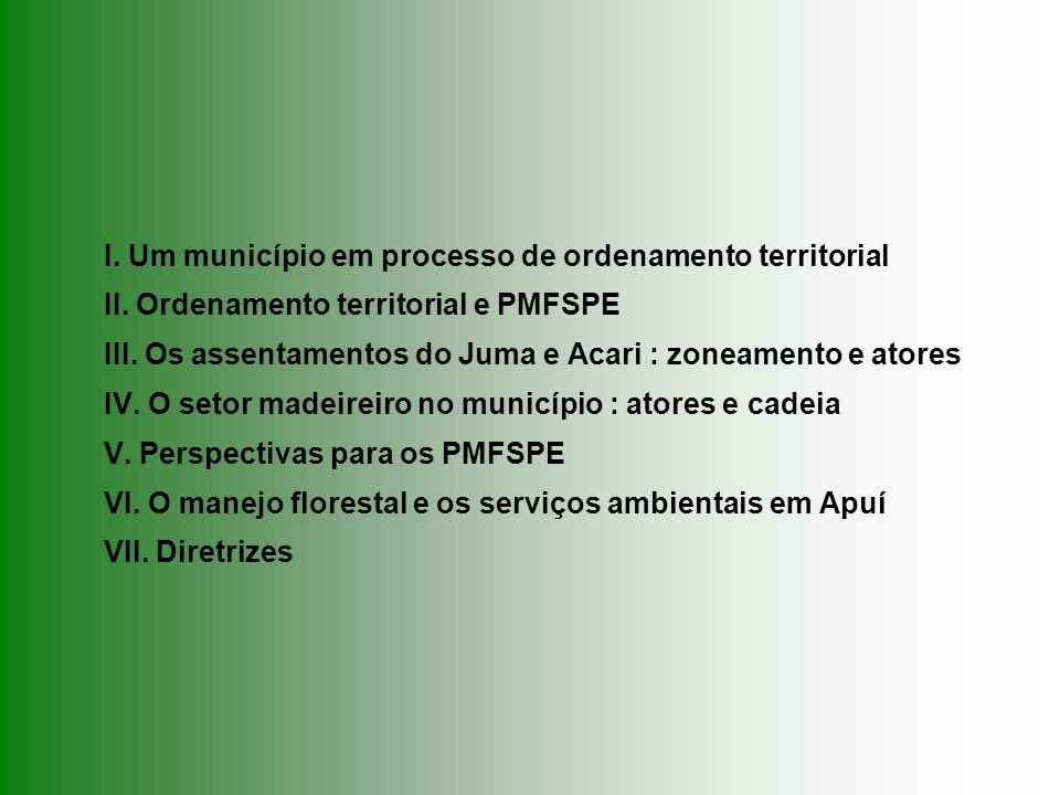 I. Um munic í pio em processo de ordenamento territorial AFLORAM / Floresta Viva – março de 2007