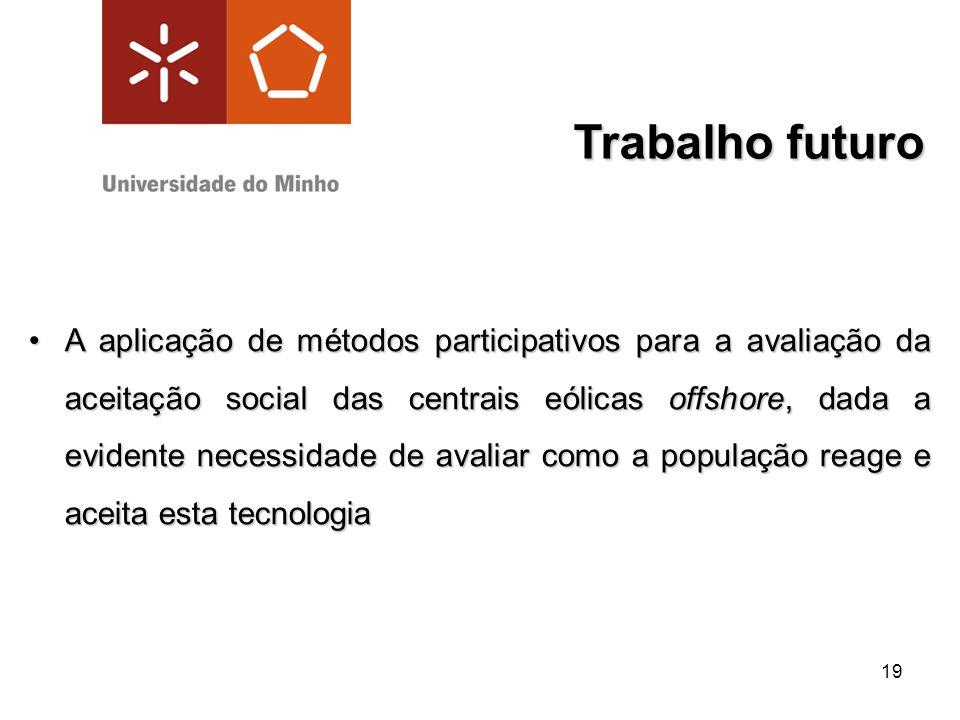19 Trabalho futuro A aplicação de métodos participativos para a avaliação da aceitação social das centrais eólicas offshore, dada a evidente necessida