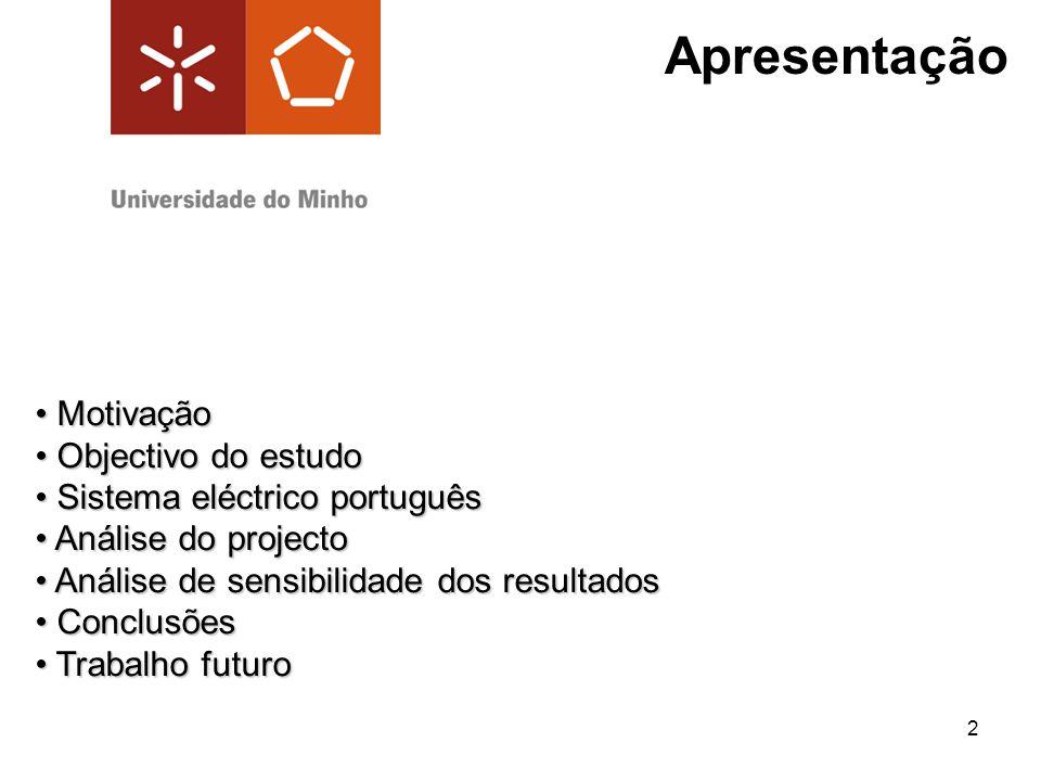 2 Apresentação Motivação Motivação Objectivo do estudo Objectivo do estudo Sistema eléctrico português Sistema eléctrico português Análise do projecto