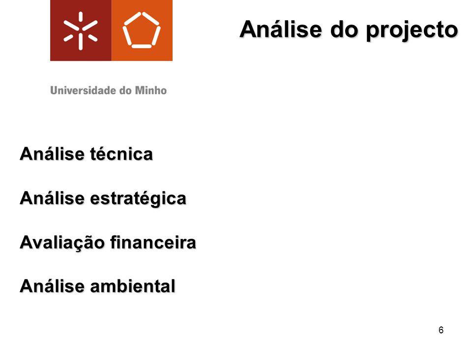 6 Análise do projecto Análise técnica Análise estratégica Avaliação financeira Análise ambiental