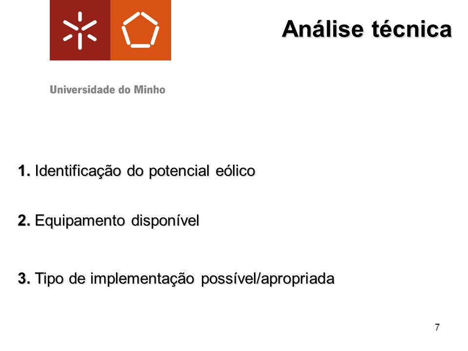 7 Análise técnica 1. Identificação do potencial eólico 1. Identificação do potencial eólico 2. Equipamento disponível 2. Equipamento disponível 3. Tip