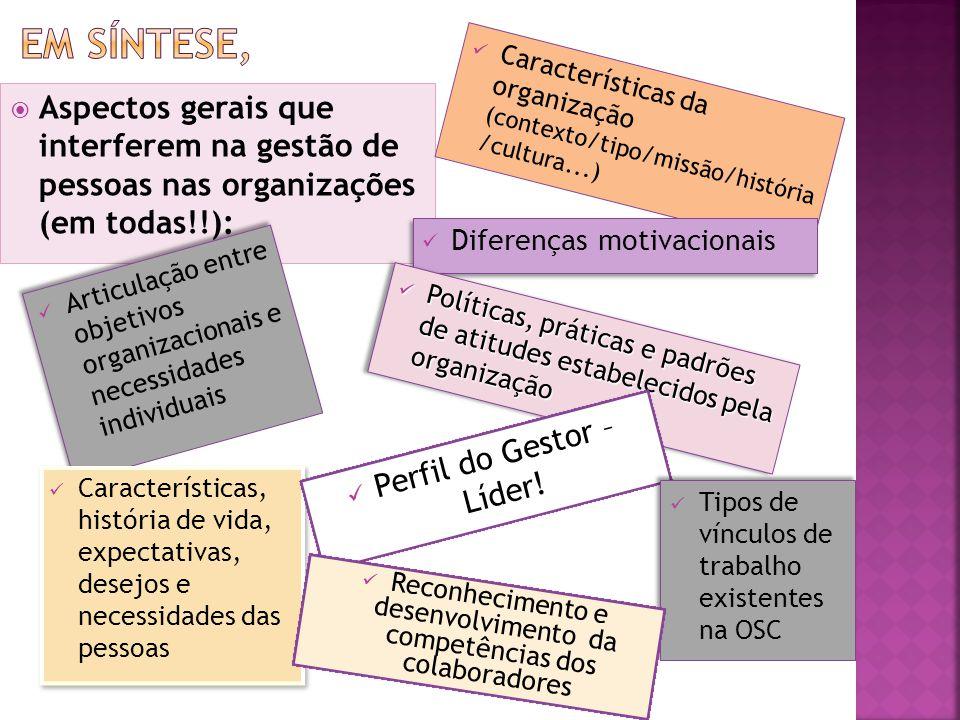 Aspectos gerais que interferem na gestão de pessoas nas organizações (em todas!!): Características da organização (contexto/tipo/missão/história /cultura...)