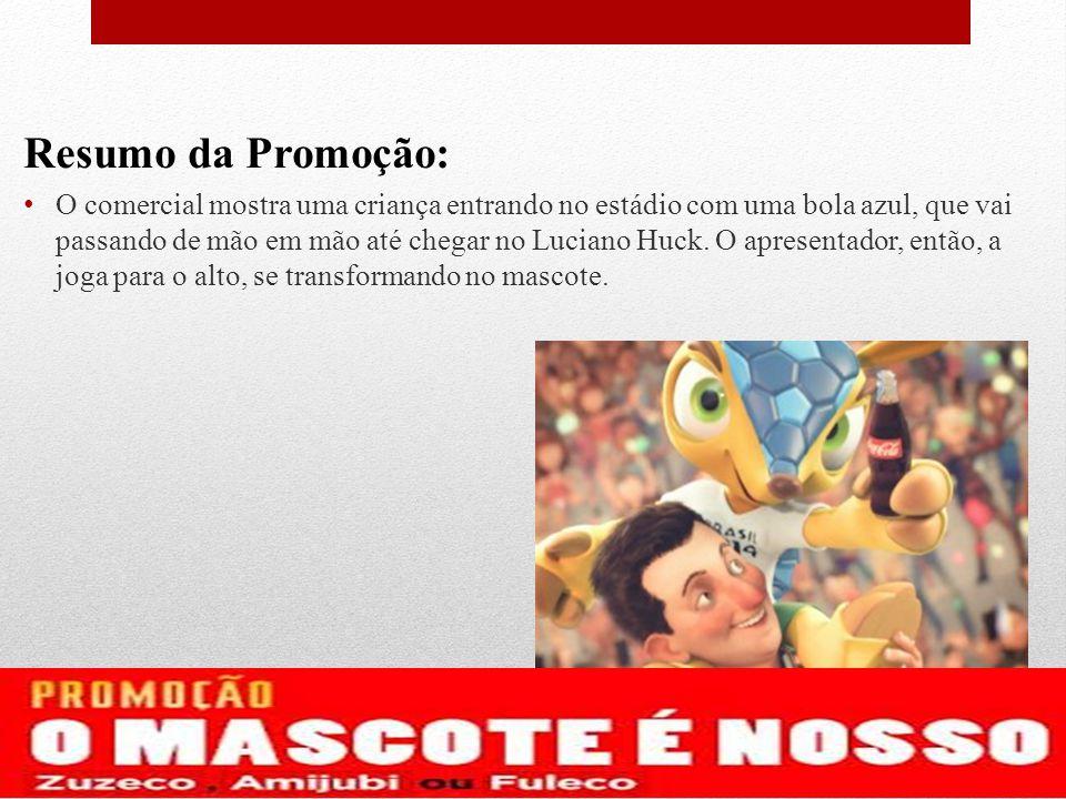 Resumo da Promoção: O comercial mostra uma criança entrando no estádio com uma bola azul, que vai passando de mão em mão até chegar no Luciano Huck. O