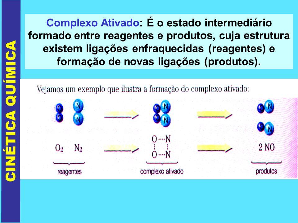 Complexo Ativado: É o estado intermediário formado entre reagentes e produtos, cuja estrutura existem ligações enfraquecidas (reagentes) e formação de