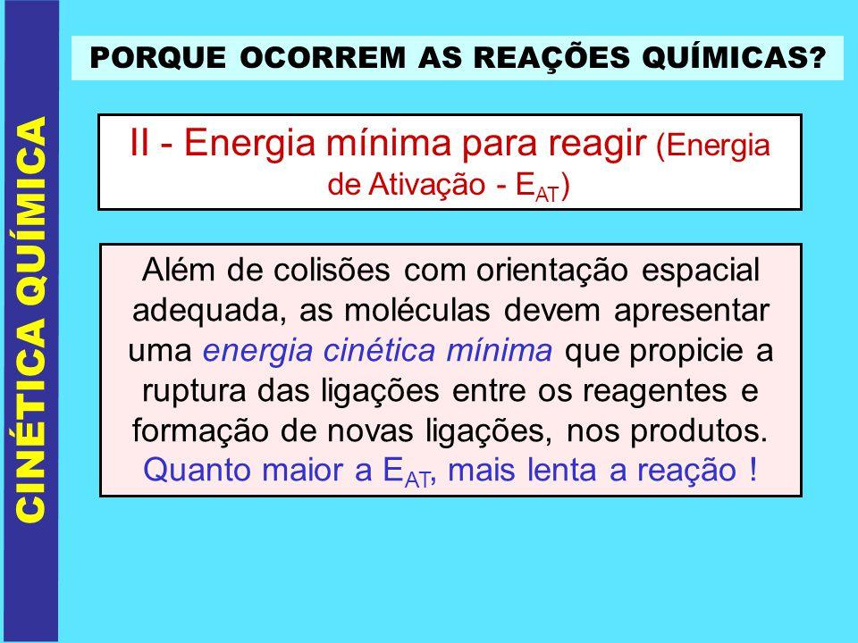 PORQUE OCORREM AS REAÇÕES QUÍMICAS? II - Energia mínima para reagir (Energia de Ativação - E AT ) CINÉTICA QUÍMICA Além de colisões com orientação esp