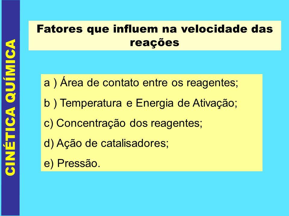 CINÉTICA QUÍMICA Fatores que influem na velocidade das reações a ) Área de contato entre os reagentes; b ) Temperatura e Energia de Ativação; c) Conce