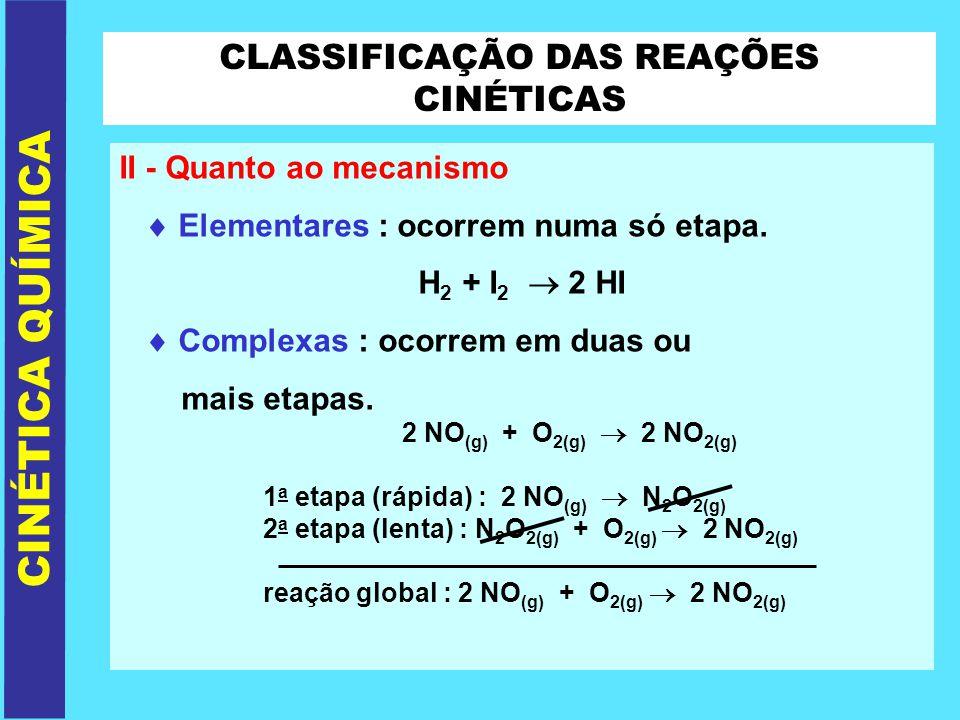 CLASSIFICAÇÃO DAS REAÇÕES CINÉTICAS II - Quanto ao mecanismo Elementares : ocorrem numa só etapa. H 2 + I 2 2 HI Complexas : ocorrem em duas ou mais e