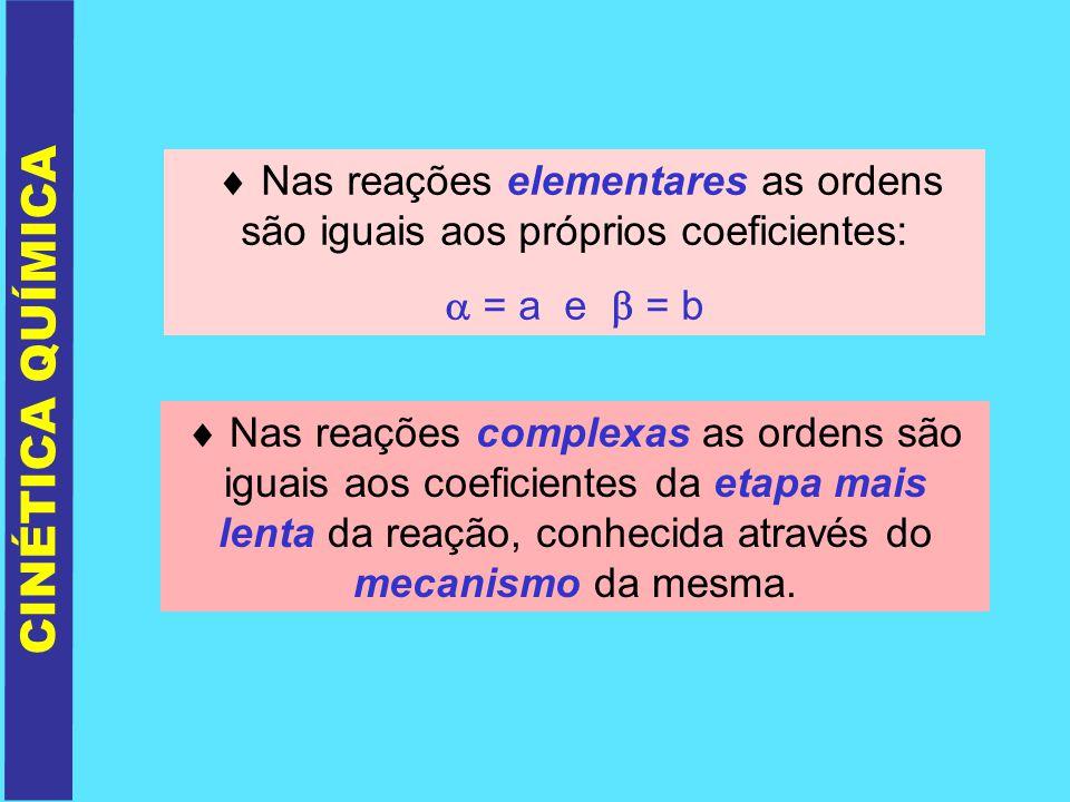 Nas reações elementares as ordens são iguais aos próprios coeficientes: = a e = b Nas reações complexas as ordens são iguais aos coeficientes da etapa