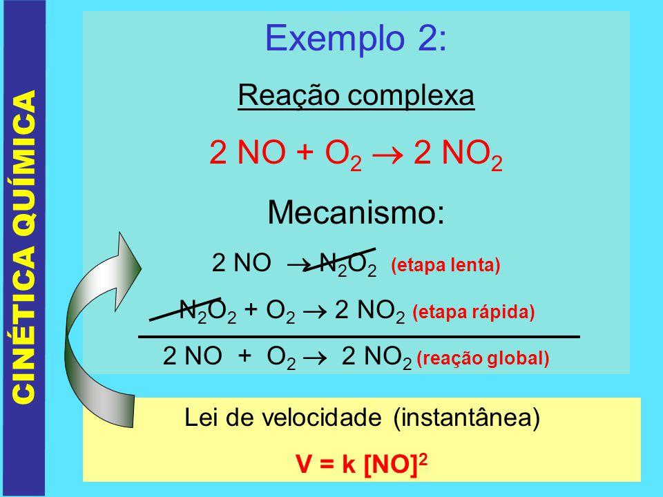 Exemplo 2: Reação complexa 2 NO + O 2 2 NO 2 Mecanismo: 2 NO N 2 O 2 (etapa lenta) N 2 O 2 + O 2 2 NO 2 (etapa rápida) 2 NO + O 2 2 NO 2 (reação globa