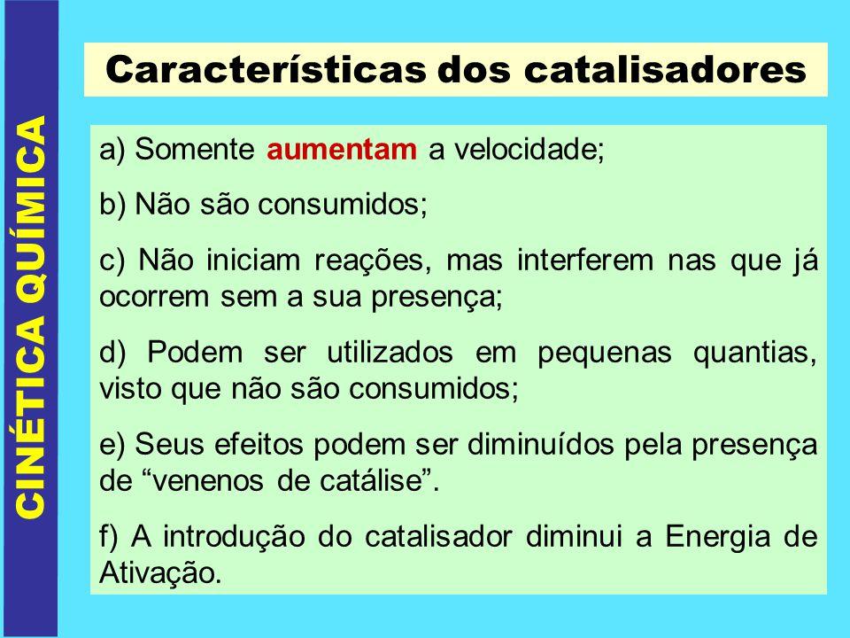 CINÉTICA QUÍMICA Características dos catalisadores a) Somente aumentam a velocidade; b) Não são consumidos; c) Não iniciam reações, mas interferem nas