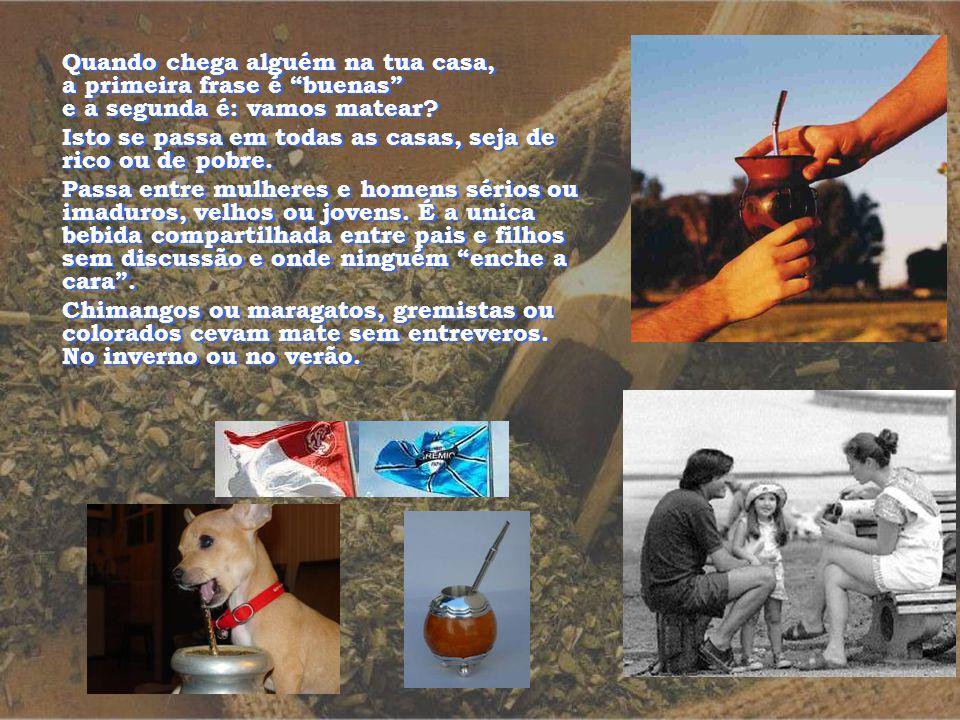 O mate ou chimarrão é feito com a erva mate, a qual é encontrada principalmente no sul do Brasil e norte da Argentina. É uma bebida genuinamente nativ