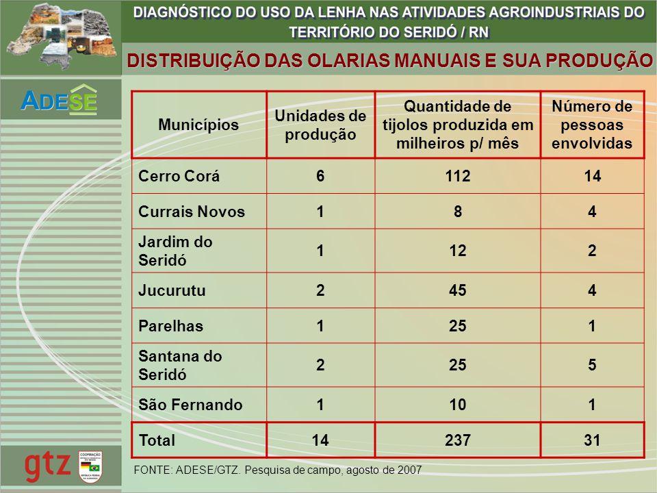 Municípios Unidades de produção Quantidade de tijolos produzida em milheiros p/ mês Número de pessoas envolvidas Cerro Corá611214 Currais Novos184 Jar