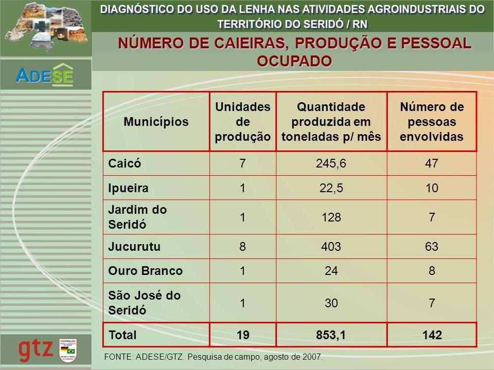 NÚMERO DE CAIEIRAS, PRODUÇÃO E PESSOAL OCUPADO Municípios Unidades de produção Quantidade produzida em toneladas p/ mês Número de pessoas envolvidas C