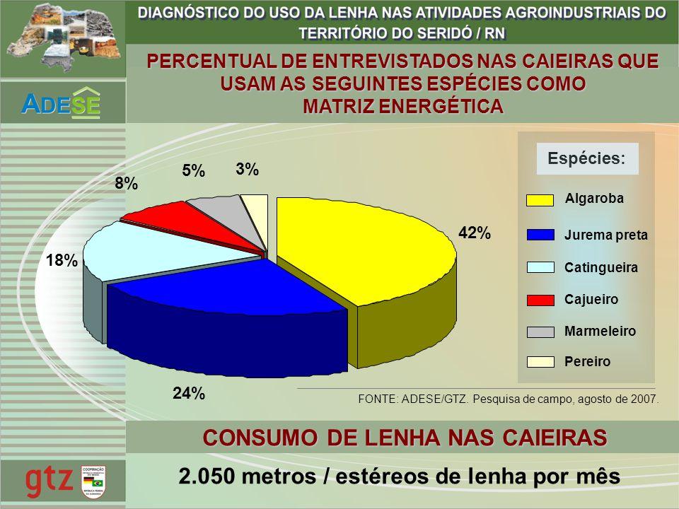 42% 24% 18% 8% 5% 3% 2.050 metros / estéreos de lenha por mês CONSUMO DE LENHA NAS CAIEIRAS FONTE: ADESE/GTZ. Pesquisa de campo, agosto de 2007. Espéc