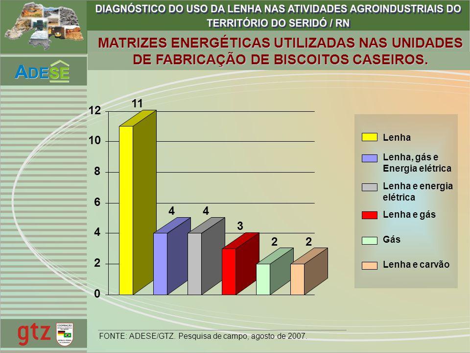 Lenha Lenha, gás e Energia elétrica Lenha e energia elétrica Lenha e gás Gás Lenha e carvão 11 44 3 22 0 2 4 6 8 10 12 FONTE: ADESE/GTZ. Pesquisa de c