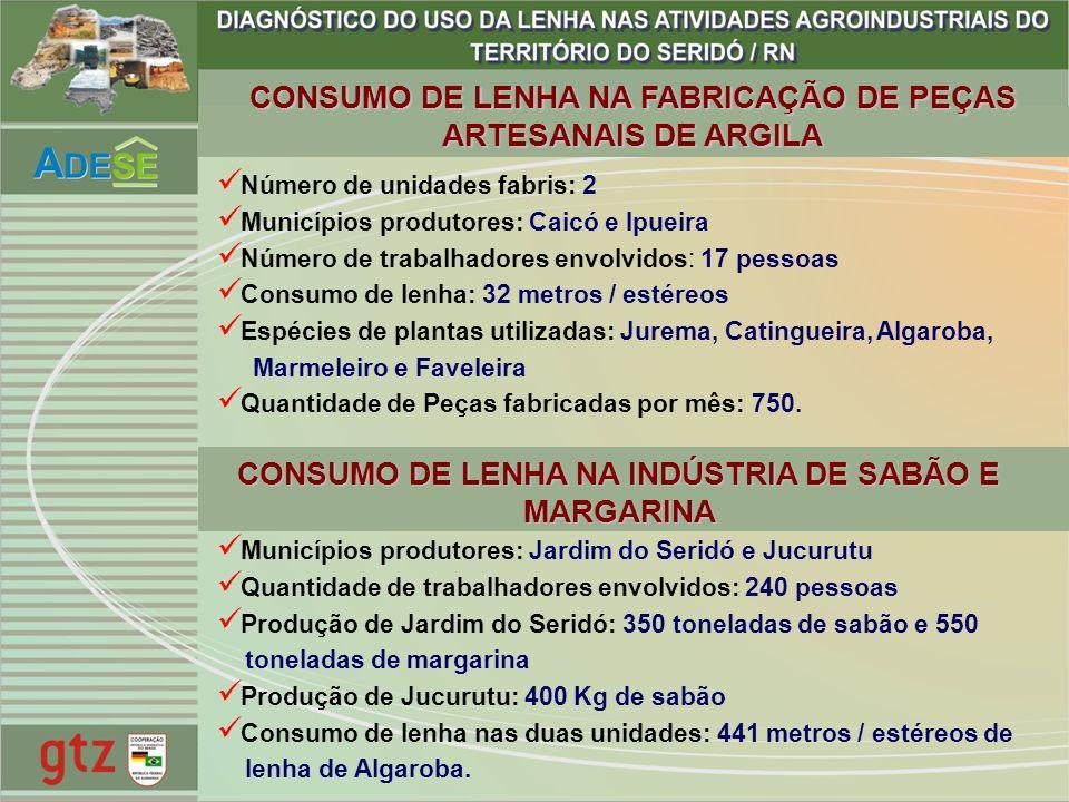 CONSUMO DE LENHA NA FABRICAÇÃO DE PEÇAS ARTESANAIS DE ARGILA CONSUMO DE LENHA NA INDÚSTRIA DE SABÃO E MARGARINA Número de unidades fabris: 2 Município