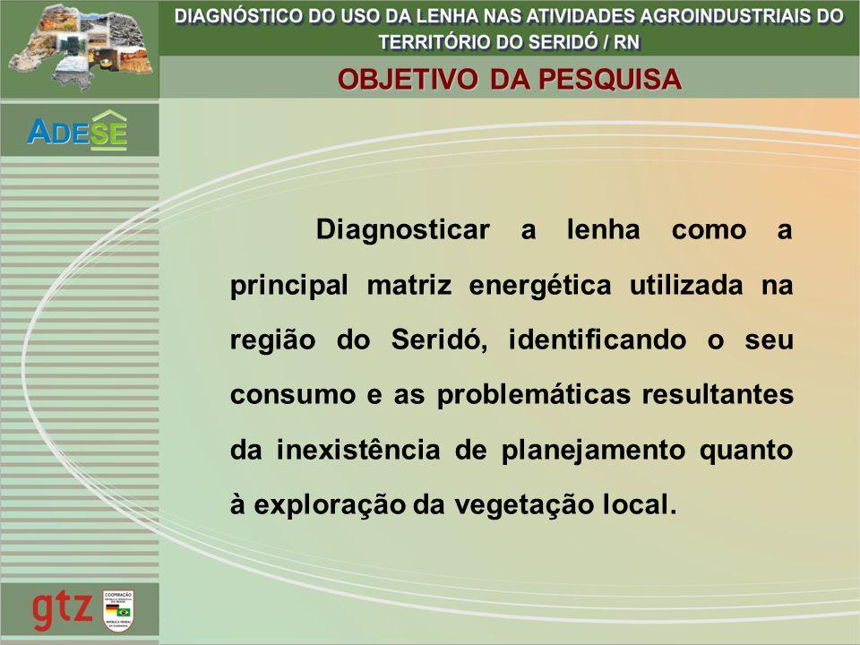 OBJETIVO DA PESQUISA Diagnosticar a lenha como a principal matriz energética utilizada na região do Seridó, identificando o seu consumo e as problemát