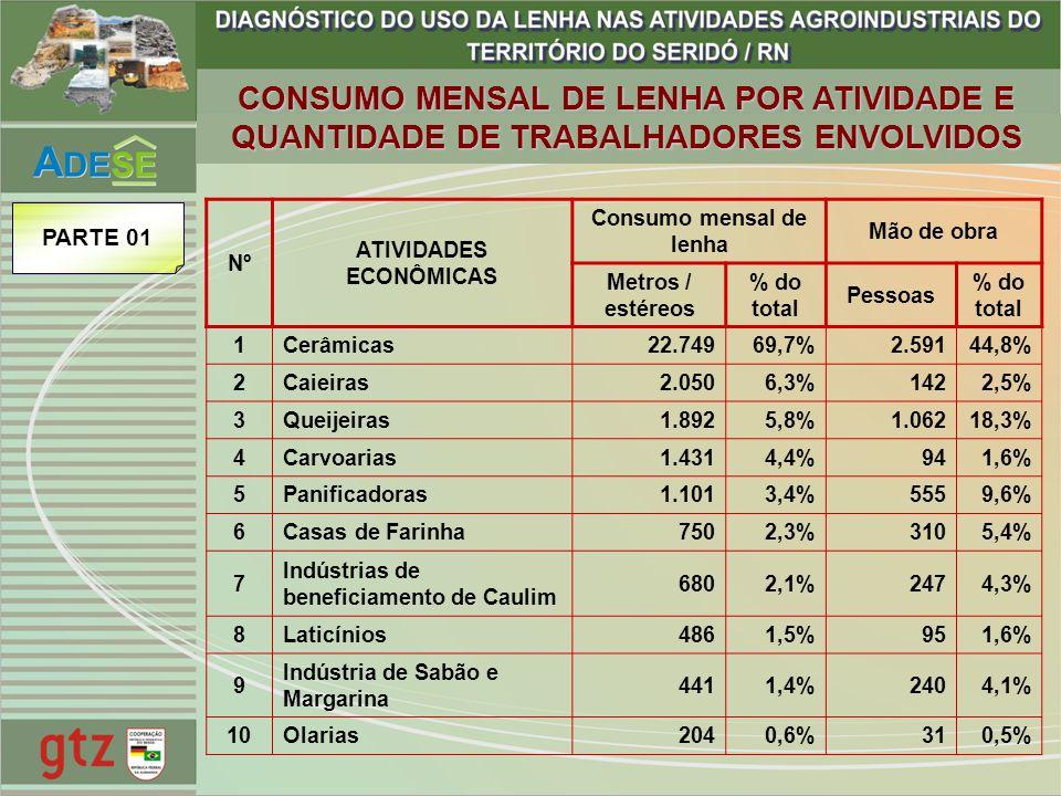 CONSUMO MENSAL DE LENHA POR ATIVIDADE E QUANTIDADE DE TRABALHADORES ENVOLVIDOS Nº ATIVIDADES ECONÔMICAS Consumo mensal de lenha Mão de obra Metros / e