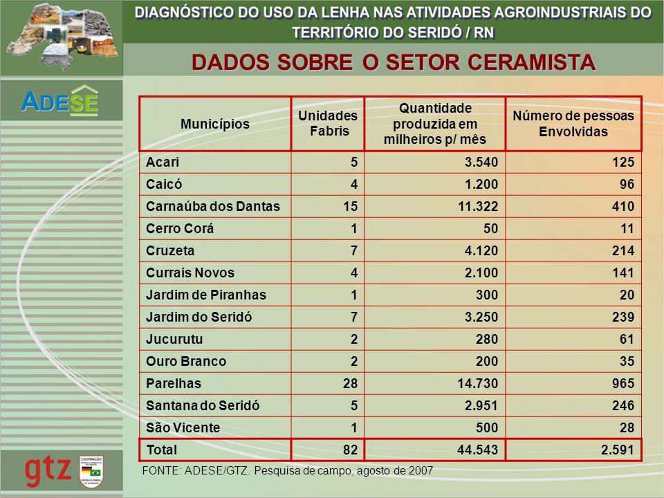 Municípios Unidades Fabris Quantidade produzida em milheiros p/ mês Número de pessoas Envolvidas Acari53.540125 Caicó41.20096 Carnaúba dos Dantas1511.