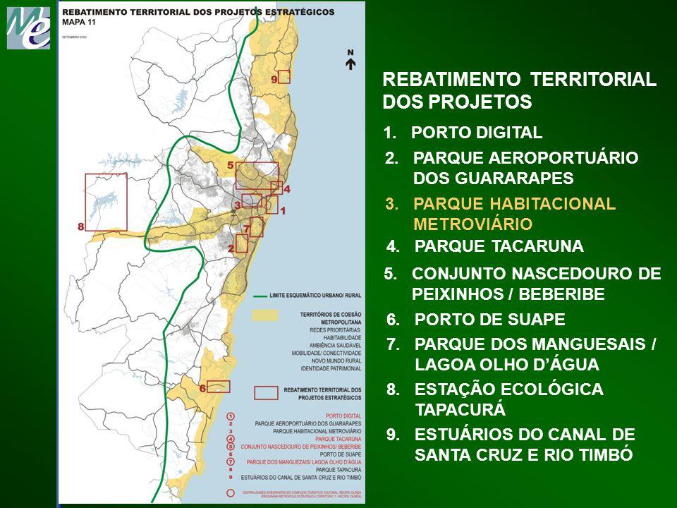 REBATIMENTO TERRITORIAL DOS PROJETOS 1. PORTO DIGITAL 2. PARQUE AEROPORTUÁRIO DOS GUARARAPES 3. PARQUE HABITACIONAL METROVIÁRIO 4. PARQUE TACARUNA 5.