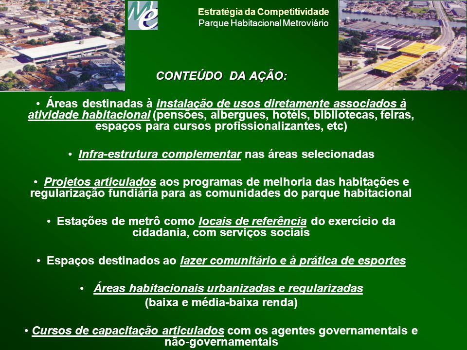 CONTEÚDO DA AÇÃO: Áreas destinadas à instalação de usos diretamente associados à atividade habitacional (pensões, albergues, hotéis, bibliotecas, feir