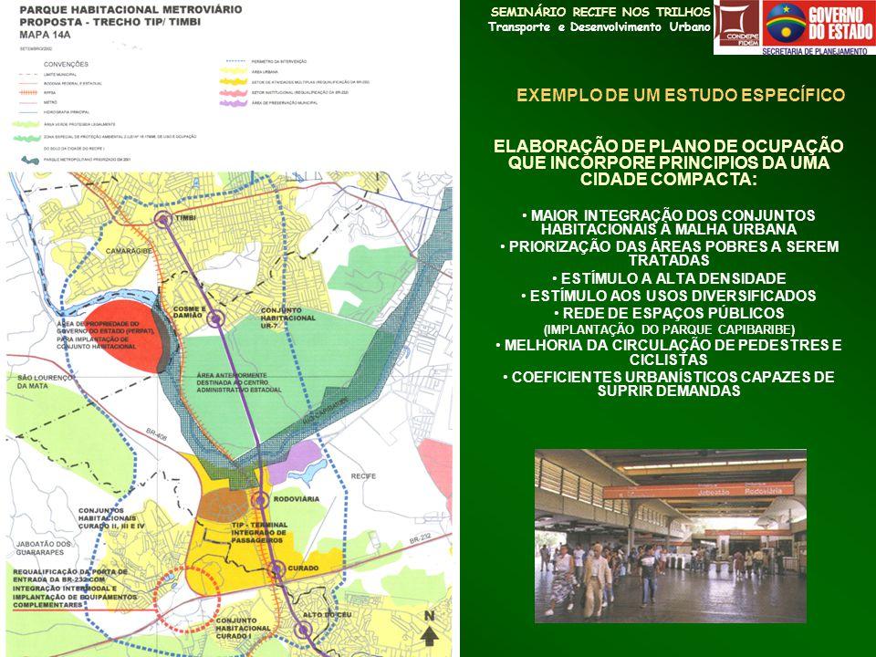 SEMINÁRIO RECIFE NOS TRILHOS Transporte e Desenvolvimento Urbano ELABORAÇÃO DE PLANO DE OCUPAÇÃO QUE INCORPORE PRINCIPIOS DA UMA CIDADE COMPACTA: MAIO