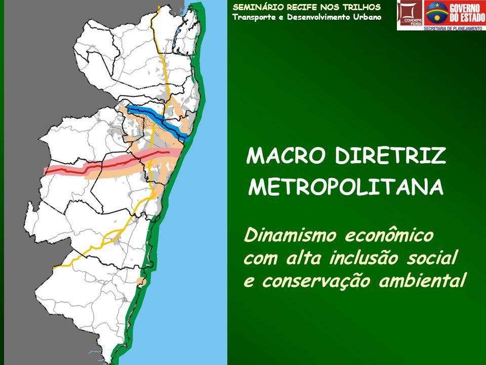 SEMINÁRIO RECIFE NOS TRILHOS Transporte e Desenvolvimento Urbano MACRO DIRETRIZ METROPOLITANA Dinamismo econômico com alta inclusão social e conservaç