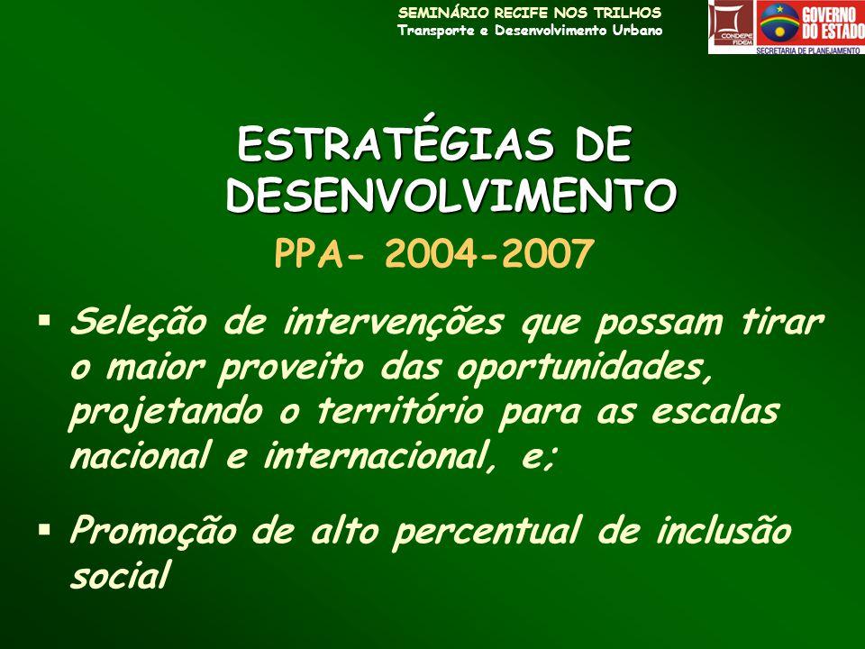 SEMINÁRIO RECIFE NOS TRILHOS Transporte e Desenvolvimento Urbano PACTO METROPOLITANO RESOLUÇÃO DO CONDERM / 2002/2003 PARTICIPANTES REQUISITO FORMAÇÃO DE UM AMBIENTE DE INOVAÇÃO PARA QUE OCORRA AUMENTO DA COMPETITIVIDADE E MELHORIA DA HABITABILIDADE URBANA Estado + Prefeituras RMR + Sociedade VETORES DE DESENVOLVIMENTO COMPETITIVIDADE HABITABILIDADE / EQUIDADE