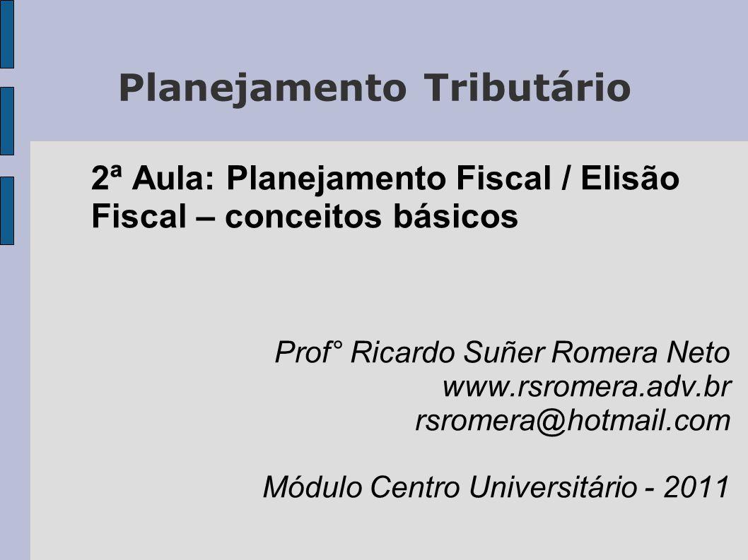 Planejamento Tributário 2ª Aula: Planejamento Fiscal / Elisão Fiscal – conceitos básicos Prof° Ricardo Suñer Romera Neto www.rsromera.adv.br rsromera@