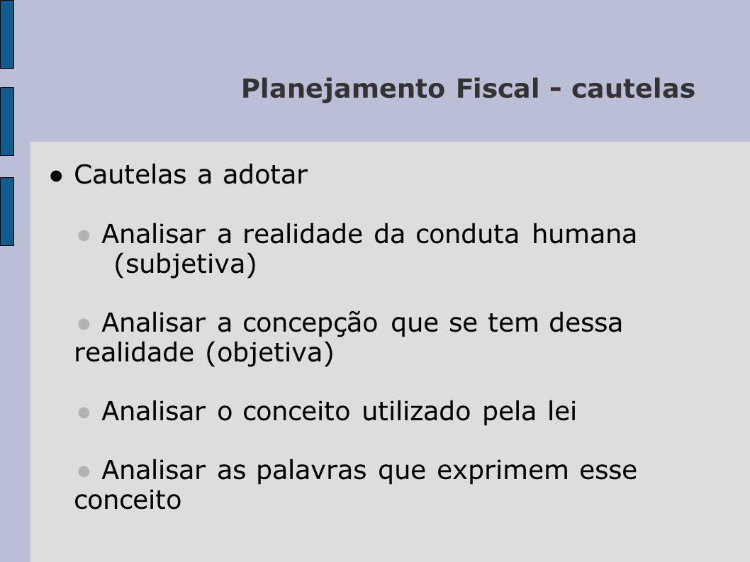 Planejamento Fiscal - cautelas Cautelas a adotar Analisar a realidade da conduta humana (subjetiva) Analisar a concepção que se tem dessa realidade (o