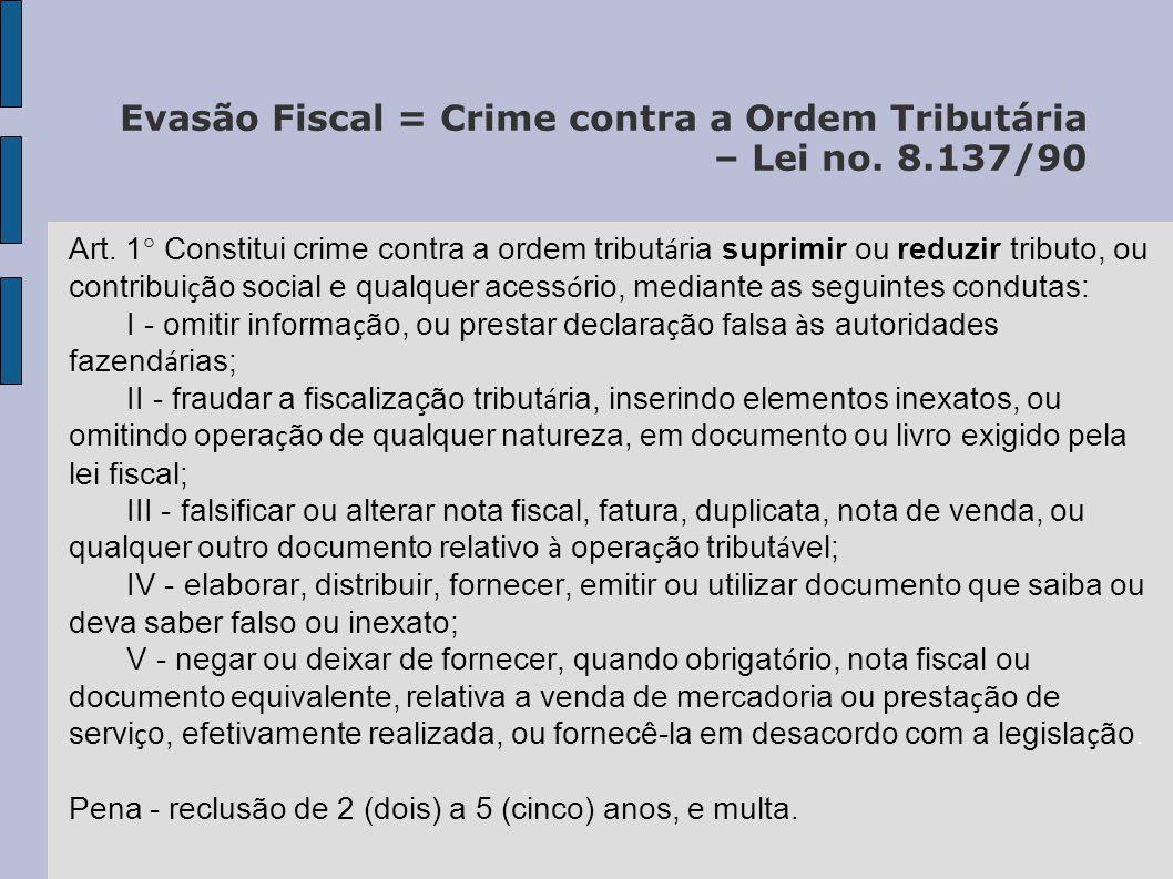 Evasão Fiscal = Crime contra a Ordem Tributária – Lei no. 8.137/90 Art. 1° Constitui crime contra a ordem tribut á ria suprimir ou reduzir tributo, ou