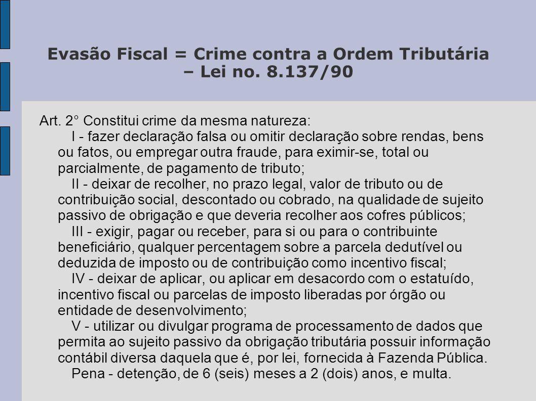 Evasão Fiscal = Crime contra a Ordem Tributária – Lei no. 8.137/90 Art. 2° Constitui crime da mesma natureza: I - fazer declaração falsa ou omitir dec