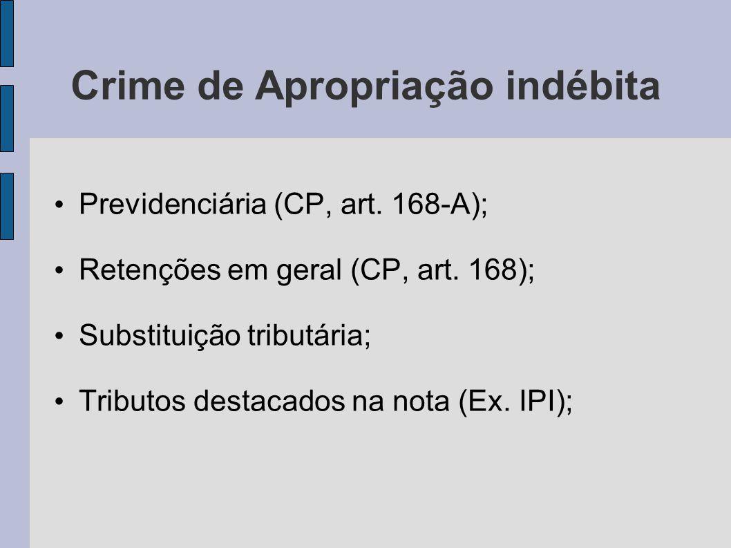 Crime de Apropriação indébita Previdenciária (CP, art. 168-A); Retenções em geral (CP, art. 168); Substituição tributária; Tributos destacados na nota