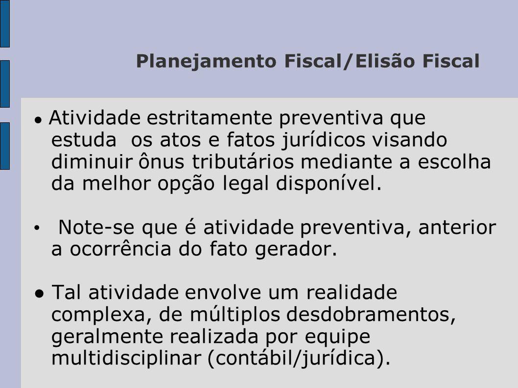 Planejamento Fiscal – Considerar: O direito do contribuinte de organizar suas atividades da maneira mais eficiente e menos onerosa; O dever do gestor diligente de proceder da mesma maneira; A legislação brasileira não veda a economia fiscal que, portanto, é um propósito negocial válido, por si só.