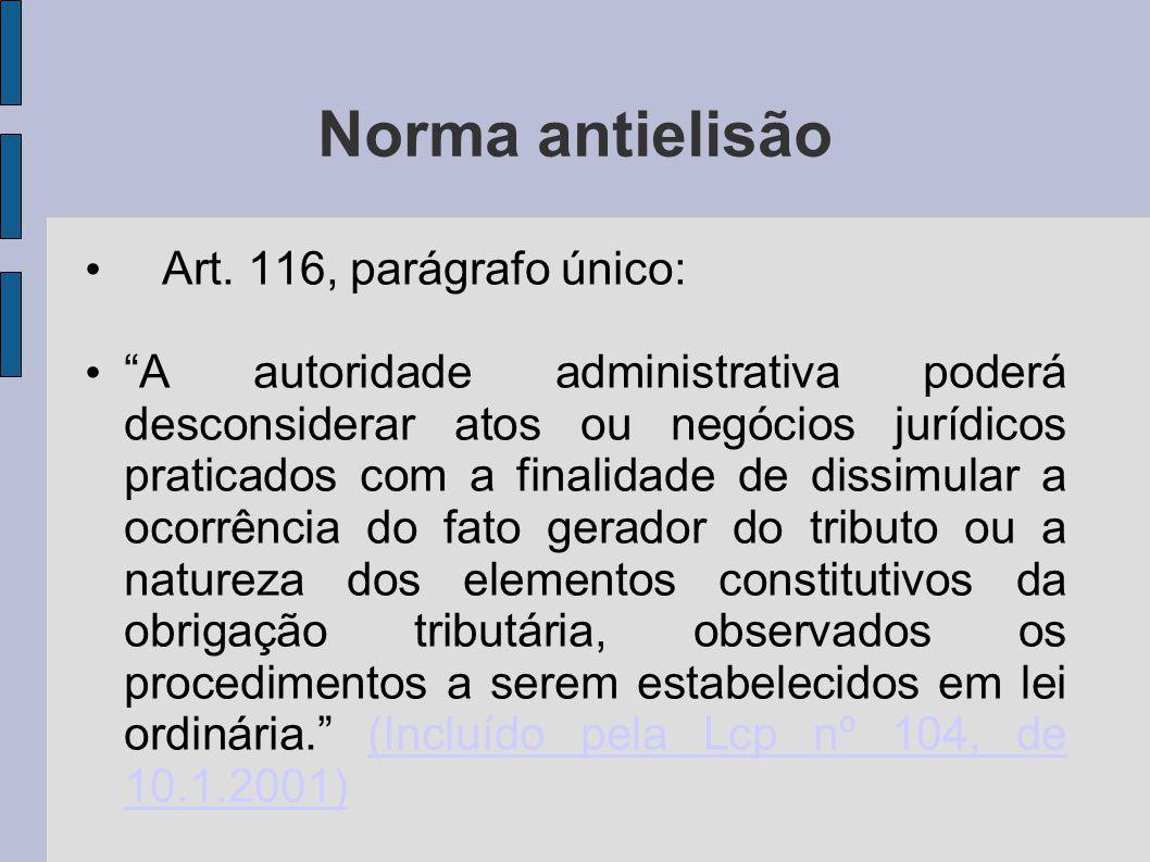 Norma antielisão Art. 116, parágrafo único: A autoridade administrativa poderá desconsiderar atos ou negócios jurídicos praticados com a finalidade de