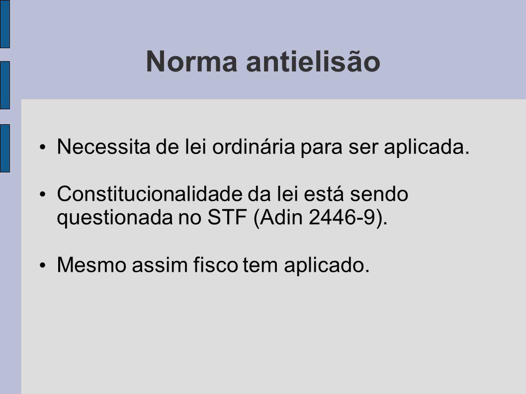 Norma antielisão Necessita de lei ordinária para ser aplicada. Constitucionalidade da lei está sendo questionada no STF (Adin 2446-9). Mesmo assim fis
