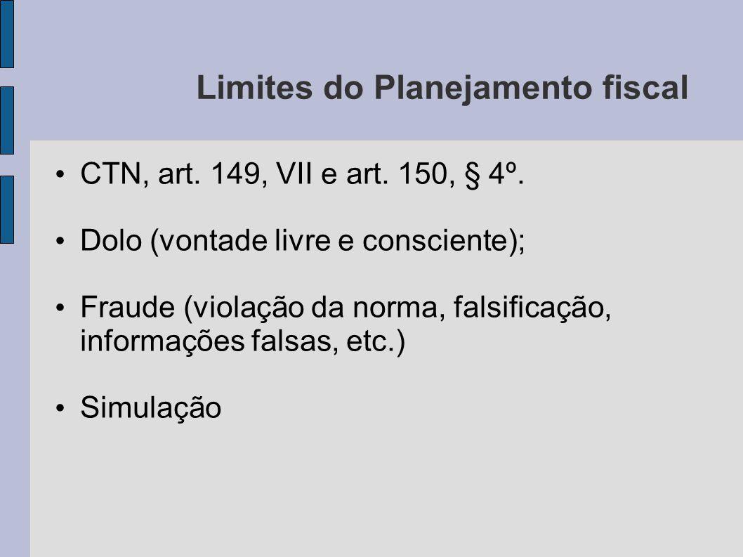 Limites do Planejamento fiscal CTN, art. 149, VII e art. 150, § 4º. Dolo (vontade livre e consciente); Fraude (violação da norma, falsificação, inform