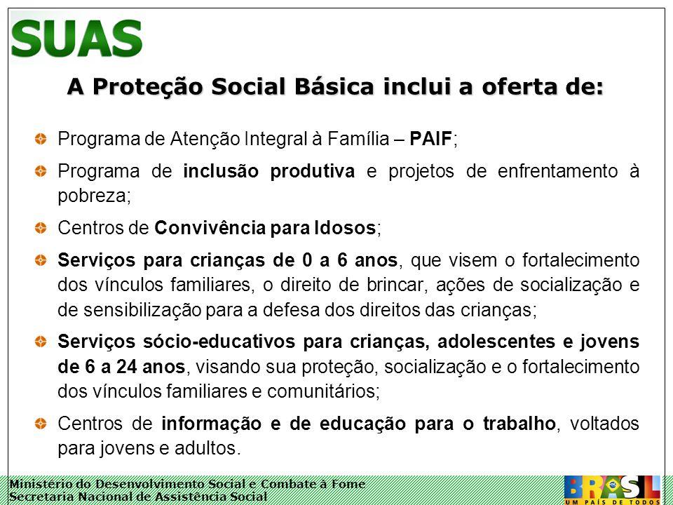 Ministério do Desenvolvimento Social e Combate à Fome Secretaria Nacional de Assistência Social A Proteção Social Básica inclui a oferta de: Programa