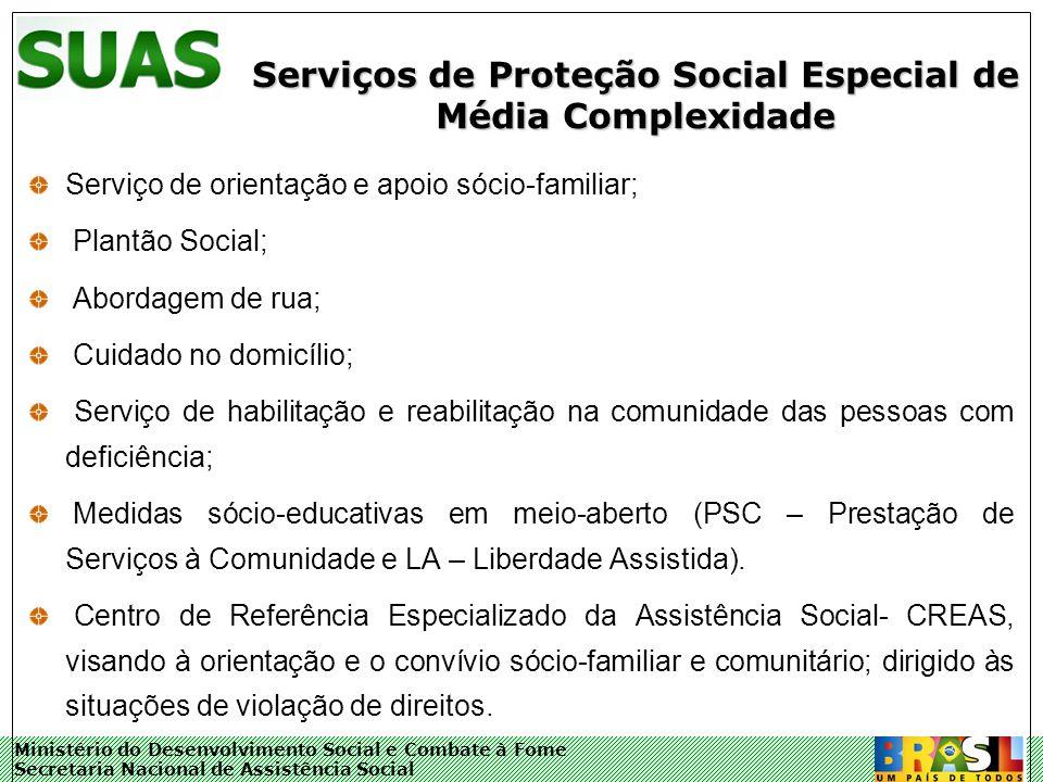 Ministério do Desenvolvimento Social e Combate à Fome Secretaria Nacional de Assistência Social Serviços de Proteção Social Especial de Média Complexi
